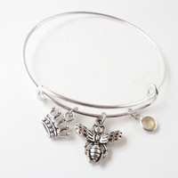 Bracelet ~ Bee Lovers Jewerly , Queen Bee Alex and Ani Inspired Silver Plated Bangle , Honey Bee with Topaz Stone charm expandable bracelet