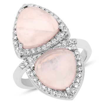 LoveHuang 6.07 Carats Genuine Rose Quartz and White Topaz Mirror Ring Solid .925 Sterling Silver With Rhodium Plating