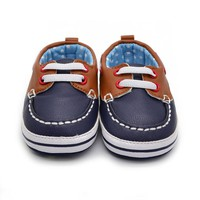 Fashion Boys Baby PU Leather Laces Up Crib Shoe Anti-Slip Prewalkers 0-18 Month LH7s
