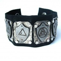 Dresden steel and german silver Shield Cuff Bracelet | Peaceofshine - Jewelry on ArtFire
