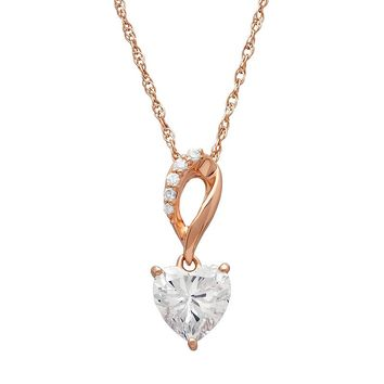 Emotions 18k Rose Gold Over Silver Heart Pendant Necklace - Made with Swarovski Cubic Zirconia (White)