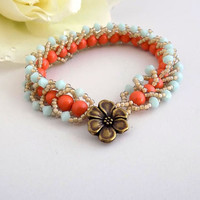 Coral Pearl Bracelet Seed Bead Bracelet  Beach Bracelet Beaded Bracelet Swarovski Jewelry Beach Jewelry Gift for Her