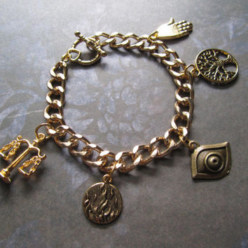 Divergent Inspired 5 Factions Charm Bracelet - Dauntless Candor Erudite Amity and Abnegation