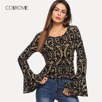 COLROVIE Bell Cuff Flocked Ruffle Print Elegant Blouse Shirt 2018 Long Sleeve Work Blouse Sexy Office Women Tops And Blouses