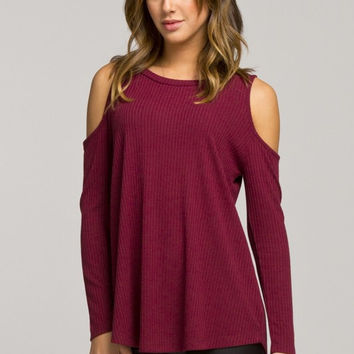 Casual Cold Shoulder Top - Burgundy