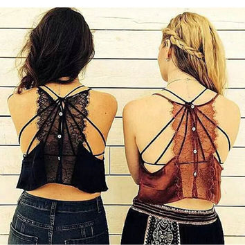 Sexy Backless Eyelash Lace Halter Bra Tank Bustier Buttons Back Crop Top Brandy Off the shoulder Tops Camisa S M 4 Colors