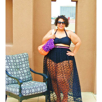 Plus Size Black Two Pieces See-through Dress