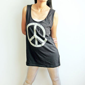 PEACE SIGN Design Black Womens Tunic Long Tank Top Women Singlet Top Woman Dress Size M