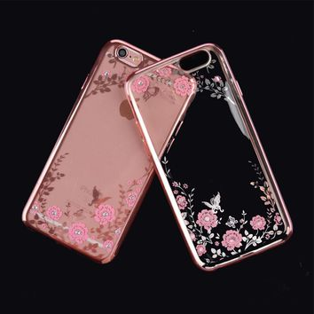 2017 Luxury Secret Garden Flowers Rhinestone Cell Phone Cases For IPhone 6 6S Plus 5 5S SE 4 4S 7 7 Plus Girl Phone Case Cover