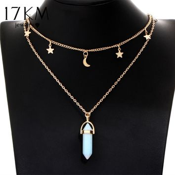 17KM 6 Colors Big Stone Moon & Star Pendant Tattoo Choker Necklace for Women Geometric Bohemian Necklaces Chain Boho Jewelry