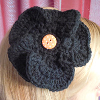 Black and Orange Flower Hair Clip, Crochet Flower, Girl's Hair Accessory, Halloween Hair Bow, Tigers Fan Wear, Ready to Ship