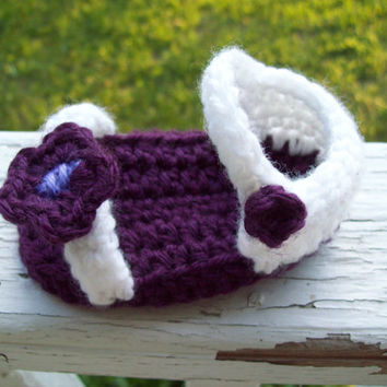 Crochet Baby Sandals, Baby Girl Sandals, Purple Flower Crochet Baby Sandals