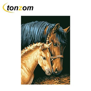 RIHE Horse Mother And Child Diy Painting By Numbers Animal Lover Oil Painting On Canvas Cuadros Decoracion Acrylic Wall Art