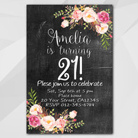 21st Birthday invitation, Watercolor Chalkboard, 13th 18th 21st 30th 40th 50th, Custom Birthday Party invitation XA020c