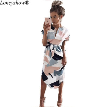 Loneyshow 2017 New Hot Casual Summer Short Sleeve Dress for Women Geometric Printed Elegant Office Lady Knee Length Ve