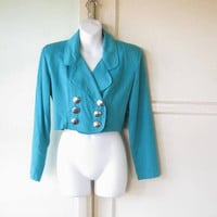 Military-Influence Cropped Teal Jacket; Double Breasted Women's Medium 1980s Vintage Jacket w/ Shoulder Pads; U.S. Shipping Included