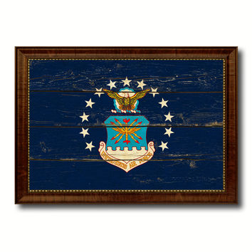 Emblem US Air Force Military Flag Vintage Canvas Print with Brown Picture Frame Gifts Ideas Home Decor Wall Art Decoration