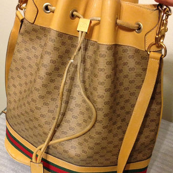 Large Vintage Gucci Purse Drawstring Leather Monogram GG FREE SHIPPING