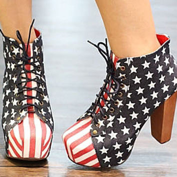 Canvas Women Lace-up Star Stripe Wooden Heels Super High Ankle Boots Shoes 1ki