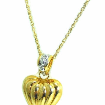 14k Heart Charm Necklace Contemporary Vintage Puffy Gold Heart