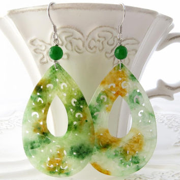 Carved drop jade earrings green white orange burma gemstone jewels italian sterling silver 925 Sofia's Bijoux Made in Italy