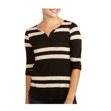 Allison Brittney Women's Scoop Neck Henley 3/4 Sleeve Shirt, Medium, Black/Tan