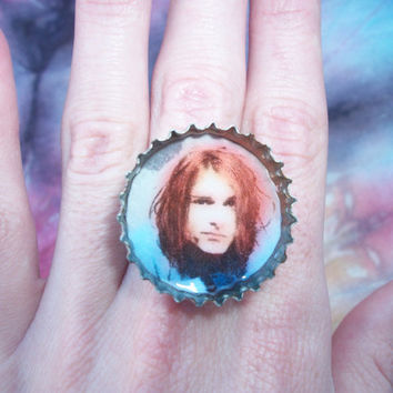 Kurt Cobain Adjustable Bottle Cap Ring Eco Jewelry 90's