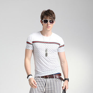 Casual Summer Short Sleeve Tee Men's Plaid T-shirts = 6450099075