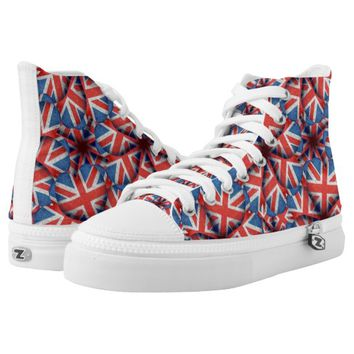 England Pattern Print High Top Shoes Printed Shoes