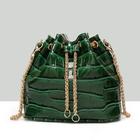 Streetstyle  Casual Crocodile Pattern Gold Chain Crossbody Bag