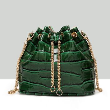 Casual Crocodile Pattern Gold Chain Crossbody Bag