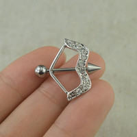 TWO nipple rings,arrow and bow Nipple rings steampunk nipple rings nipple piercing,
