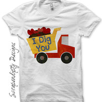 Dump Truck Iron on Transfer - Iron on Valentine Boys Shirt PDF / I Dig You / Toddler Valentine Outfit / Kids Boys Dump Truck Hearts IT344-C