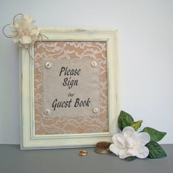 Burlap Wedding Guest Book Sign Rustic, Lace, Ivory, Vintage