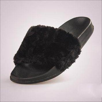 Fluffy Fur Women Slippers Fashion Slides Women Summer Shoes Casual Shoes Flats White B