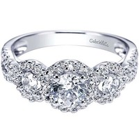 "Gabriel ""Baby Chrysalis"" Three Diamond Halo Diamond Engagement Ring"
