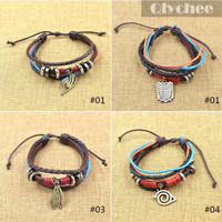 1 Pc Hot Japanese Anime Naruto Fairy Miku Tail Multilayer Leather Bracelet Cosplay Accessories