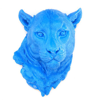 FAUX TAXIDERMY- Blue Mountain Lion - Wall Mount - Panther Mount ML60