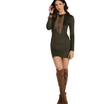Olive All That Counts Long Sleeve Suede Tunic