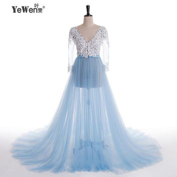 Lace Formal Pregnant Photo dress Long Sleeve See Through Blue Prom Evening Dresses Custom Size Plus Size 2018 Evening Dress 1