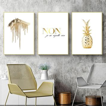 Nordic Poster Gold Painting Pineapple Posters And Prints Wall Art NON Letter Canvas Prints Living Room Decoration Home Unframed