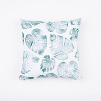 14x14 Tropical leaf Print Pillow, cotton and linen, palm leaf, lavender and green