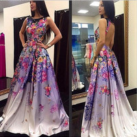 Round-neck Sleeveless Backless Sexy Stylish Print Prom Dress One Piece Dress [4919141892]