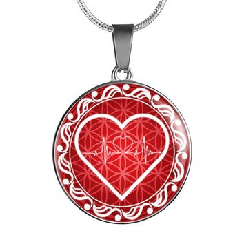 Red Love Heart Beat Pendant Necklace