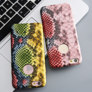 For iPhone 6 6s Case Luxury Vintage Crocodile Snake Animal Print Leather Case Back Cover For iPhone 6 6s Plus Phone Accessories