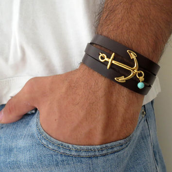 Men's Bracelet - Black Leather Bracelet With Gold Plated Anchor - Mens Jewelry - Nautical Jewelry - Anchor Jewelry - Gift for Him