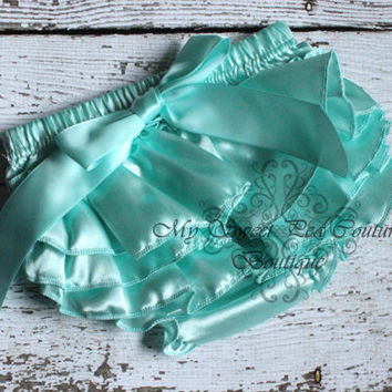Aqua Satin Ruffle Bloomers- Diaper Cover - Baby Girl Outfit- Newborn Outfit - Cake smash outfit- Photo Prop
