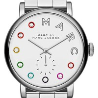 Women's MARC BY MARC JACOBS 'Baker' Crystal Index Bracelet Watch, 28mm - Silver