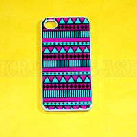 iphone 4 Case, iPhone 4s case Pink and turquoise Aztec Pattern  iPhone 4 Cases, Iphone 4s Cover,Case for iPhone 4