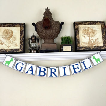 Personalized Name Banner, Baby Shower Decor, Kids Wall Art, Rustic Baby Name Decor, Giraffe, Royal Blue and Green